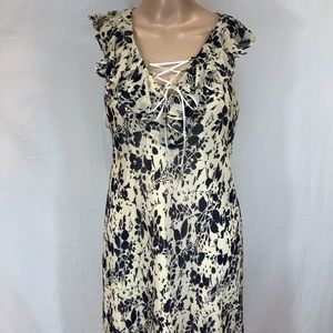 Ralph Lauren 100% silk dress Sz 8  long flared